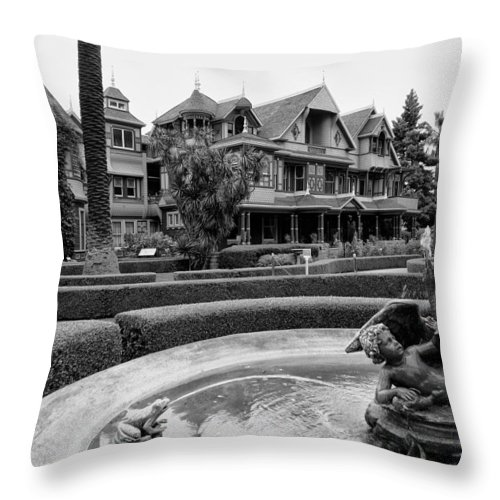 Winchester Throw Pillow featuring the photograph Winchester House - San Jose California by Daniel Hagerman