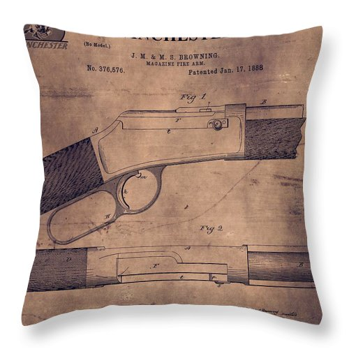 Winchester Firearm Patent Throw Pillow featuring the mixed media Winchester Rifle Patent by Dan Sproul