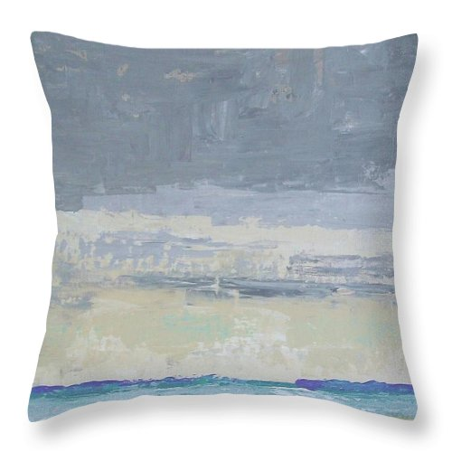 Abstract Impressionism Throw Pillow featuring the painting Wind And Rain On The Bay by Gail Kent