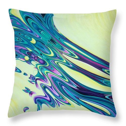 Abstract Throw Pillow featuring the painting Wind And Water by Evie Zimmer