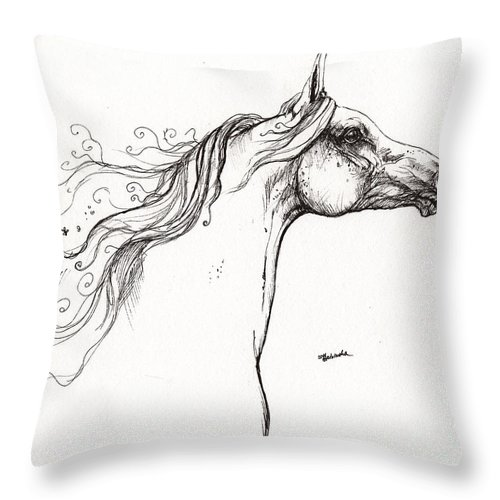 Fairytale Throw Pillow featuring the drawing Wind In The Mane 1 by Angel Ciesniarska