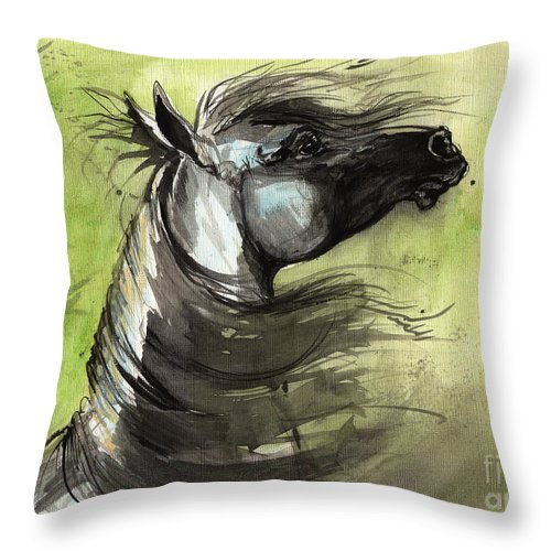 Arabian Horse Throw Pillow featuring the painting Wind In The Mane 3 by Angel Ciesniarska