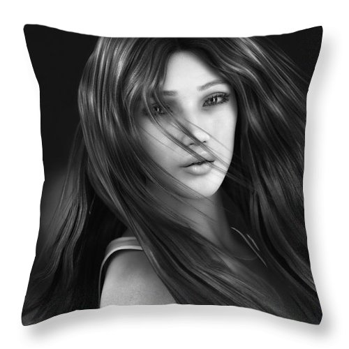 3d Throw Pillow featuring the digital art Wind Smells Of Freedom by Jutta Maria Pusl