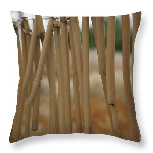 Wind Chime Throw Pillow featuring the photograph Wind Song - 2 by Linda Shafer