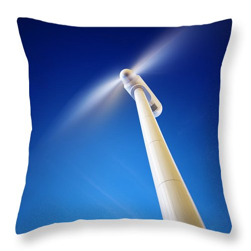 Wind Throw Pillow featuring the photograph Wind Turbine From Below by Johan Swanepoel