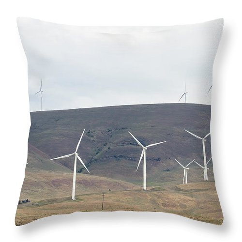 Wind Throw Pillow featuring the photograph Wind Turbine Power Farm by Jit Lim