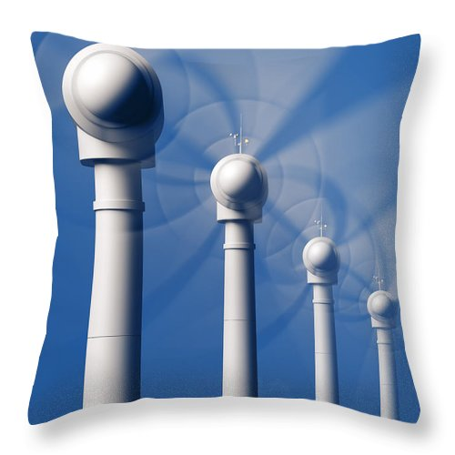 Wind Throw Pillow featuring the photograph Wind Turbines In Motion From The Front by Johan Swanepoel