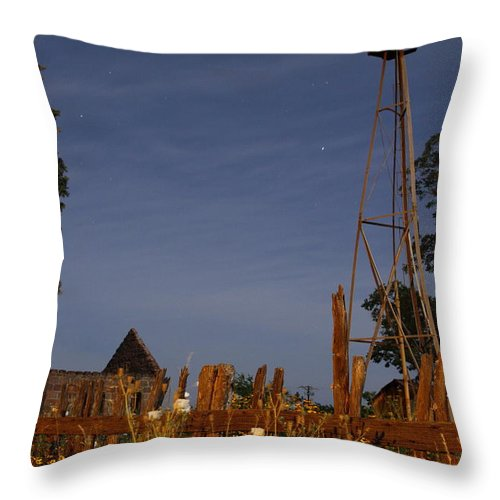 Texas Throw Pillow featuring the photograph Pontotoc Ruins 2am-110394 by Andrew McInnes