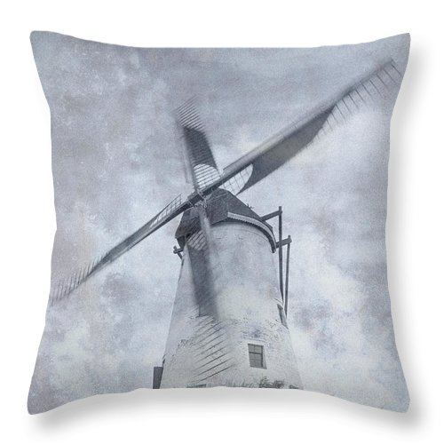 Windmill Throw Pillow featuring the photograph Windmill At Damme In Belgium Countryside by Greg Matchick