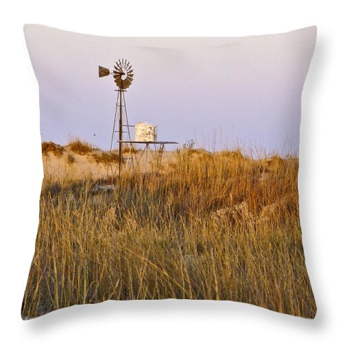 Windmill Throw Pillow featuring the photograph Windmill At Dusk 2011 by Allen Sheffield