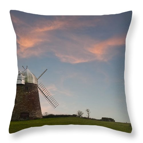 Windmill Throw Pillow featuring the photograph Windmill At Sunset by Matthew Gibson