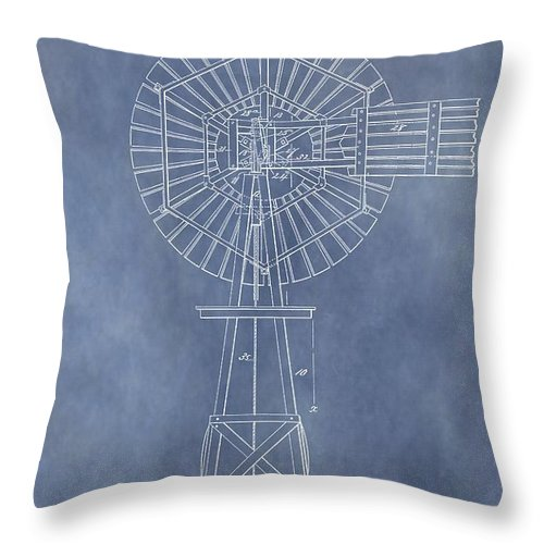 Antique Windmill Patent Throw Pillow featuring the mixed media Windmill Patent by Dan Sproul