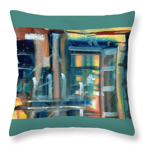Window Throw Pillow featuring the painting Window Abstract by Katherine Berlin