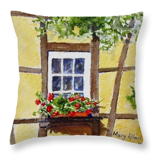 Window Throw Pillow featuring the painting Window Alsace by Mary Ellen Mueller Legault