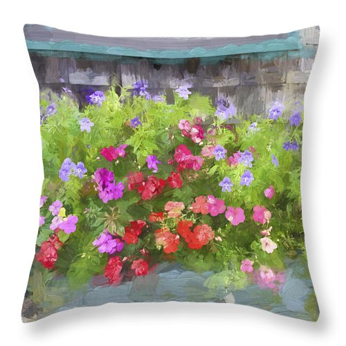 Colorful Throw Pillow featuring the photograph Window Box Painterly Effect by Carol Leigh