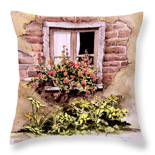 Window Throw Pillow featuring the painting Window Flowers by Sam Sidders