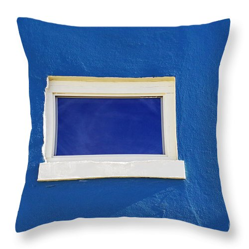 Window Throw Pillow featuring the photograph Window On Blue by Gary Richards