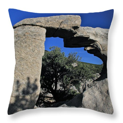 Mountains Throw Pillow featuring the photograph Window Rock by Ed Riche