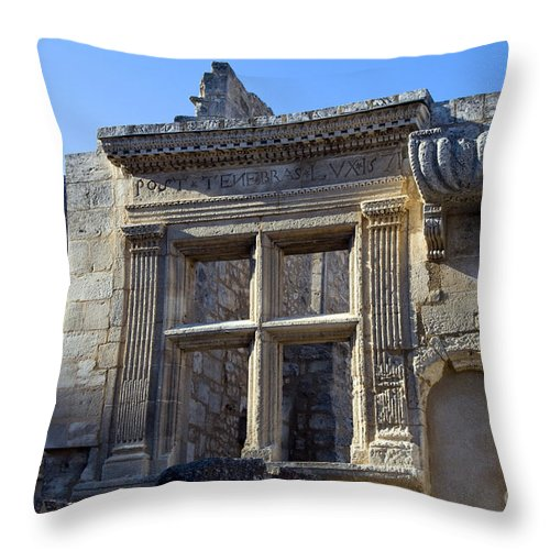 Les Baux France Window Frame Windows Frames Building Buildings Structure Structures Ruin Ruins Architecture City Cities Cityscape Cityscapes Provence Throw Pillow featuring the photograph Window Ruin by Bob Phillips