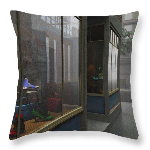 Gray Throw Pillow featuring the digital art Window Shopping by Cynthia Decker