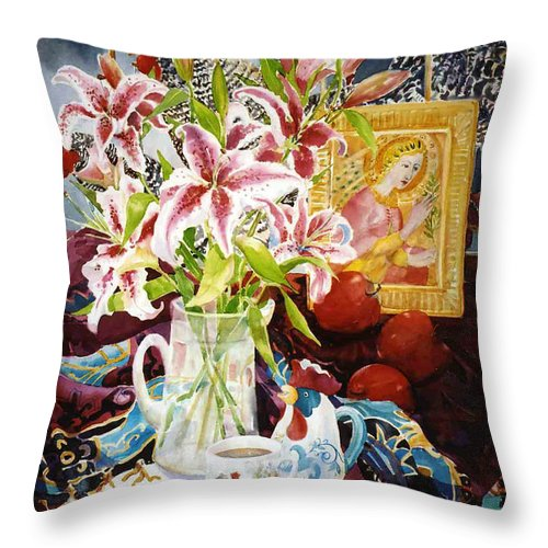 Still Life Throw Pillow featuring the painting Window Shopping by Sue Kemp