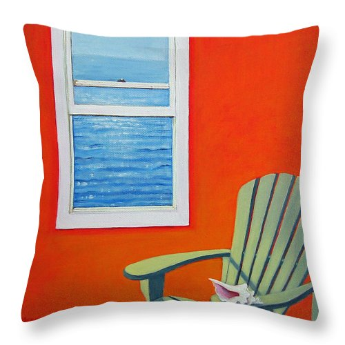 Seashell Throw Pillow featuring the painting Window To The Sea No. 1 - Seashell by Rebecca Korpita