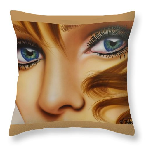 Portrait Throw Pillow featuring the painting Window To The Soul by Darren Robinson
