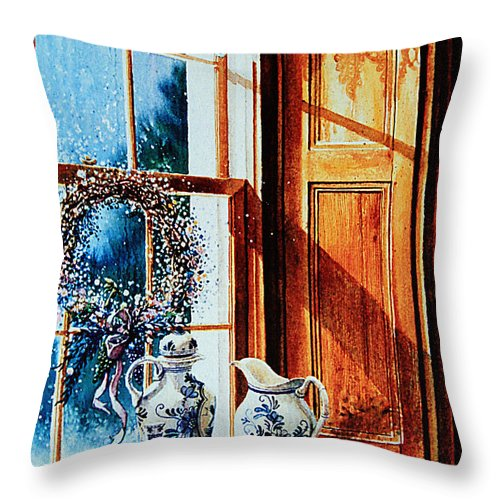 Still Life Throw Pillow featuring the painting Window Treasures by Hanne Lore Koehler