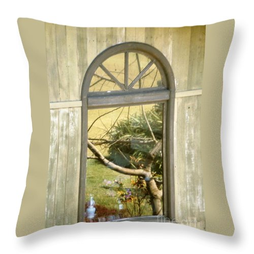 Abstract Throw Pillow featuring the photograph Window With A View by Jussta Jussta