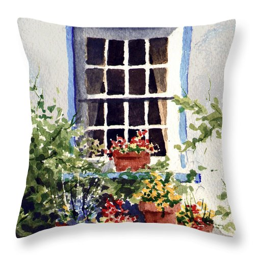 Window Throw Pillow featuring the painting Window with Blue Trim by Sam Sidders