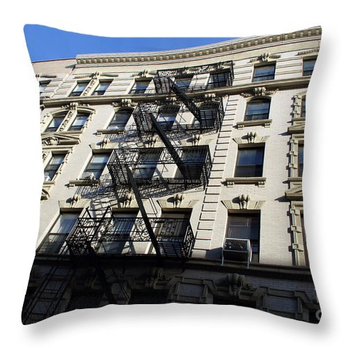Buildings Throw Pillow featuring the photograph Windows And Stairs by Mary Haber