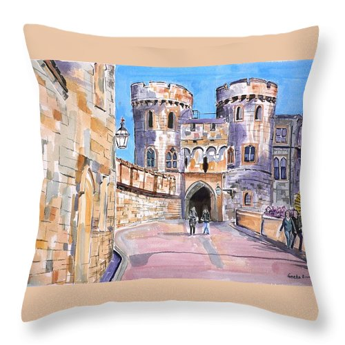 Windsor Castle Throw Pillow featuring the painting Windsor Castle by Geeta Biswas