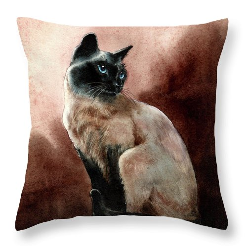 Cat Throw Pillow featuring the painting Windsor by Jill Westbrook