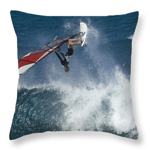 Surf Throw Pillow featuring the photograph Windsurfer Hanging In by Bob Christopher