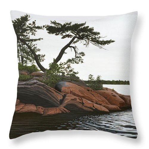 Landscape Paintings Throw Pillow featuring the painting Windswept by Kenneth M Kirsch
