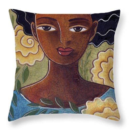 Woman Throw Pillow featuring the painting Windswept with roses by Elaine Jackson