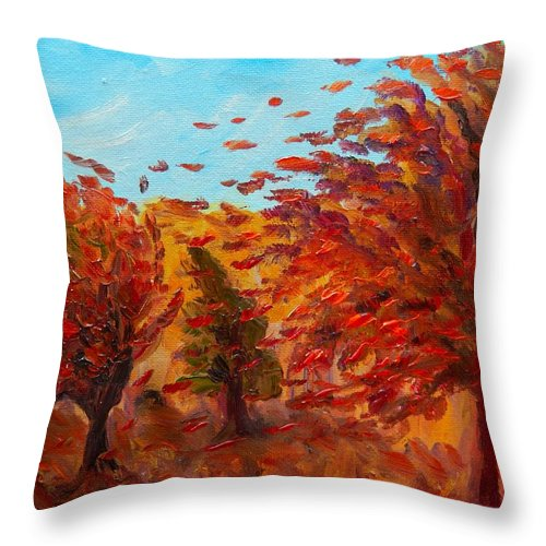 Windy Autumn Day Throw Pillow featuring the painting Windy Autumn Day by Lilia D