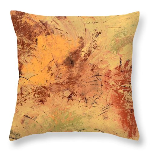 Beige Throw Pillow featuring the painting Windy Day by Linda Bailey