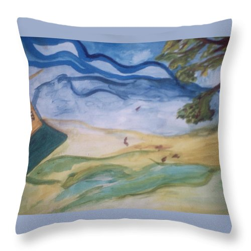 Windy Throw Pillow featuring the painting Windy Day by Shea Holliman