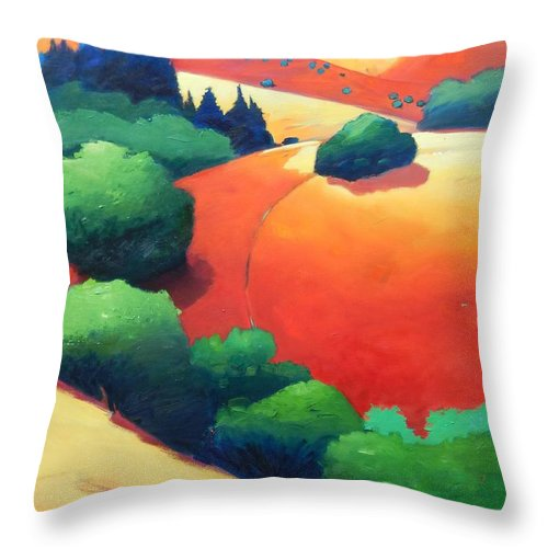 Landscape Throw Pillow featuring the painting Windy Hill Trip Panel 1 by Gary Coleman