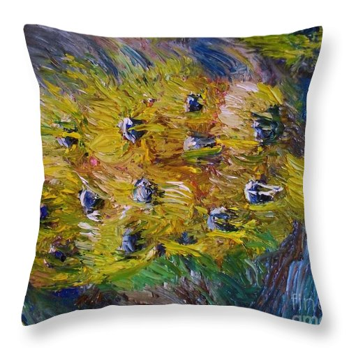 Flowers Throw Pillow featuring the painting Windy by Laurie Lundquist