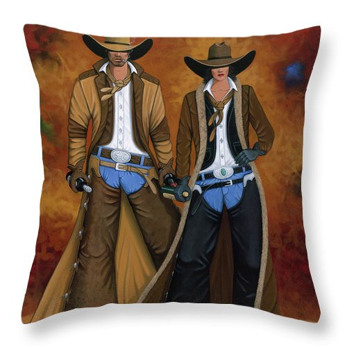 Cowgirl Throw Pillow featuring the painting Wine And Roses by Lance Headlee