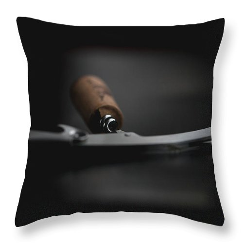Wine Cork Throw Pillow featuring the photograph Wine Bottle Opener With Cork by Stacy Vitallo