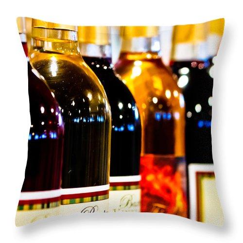 Bottles Throw Pillow featuring the photograph Wine Bottles by Ben Graham