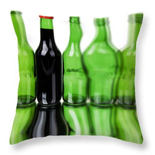 Bottle Throw Pillow featuring the photograph Wine Bottles by Chevy Fleet