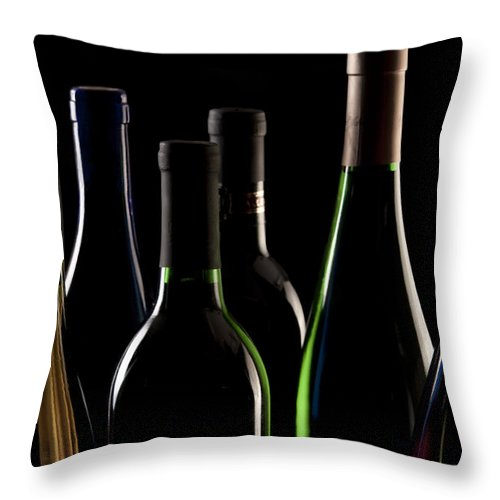 Wine Throw Pillow featuring the photograph Wine Bottles by Tom Mc Nemar