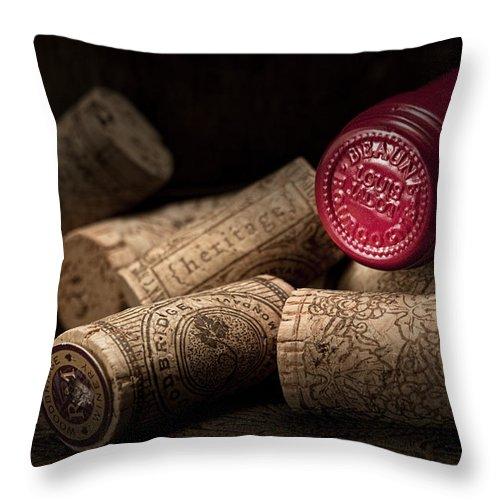 Wine Cork Throw Pillow featuring the photograph Wine Corks Still Life Iv by Tom Mc Nemar