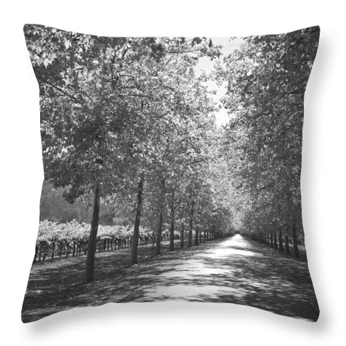 Black And White Throw Pillow featuring the photograph Wine Country Napa Black And White by Suzanne Gaff