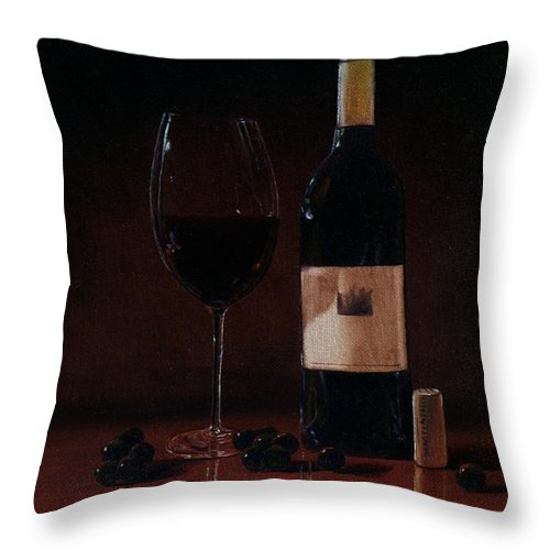 Wine Throw Pillow featuring the painting Wine Glass And Bottle by Paul Tremlin