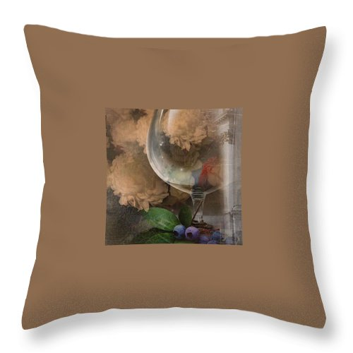 Wine Glass Throw Pillow featuring the photograph Wine Glass And Flowers by Georgiana Romanovna